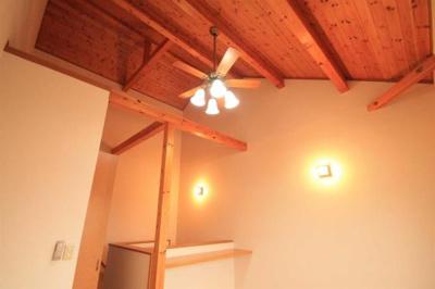 吹き抜け天井にはファンが付いてます