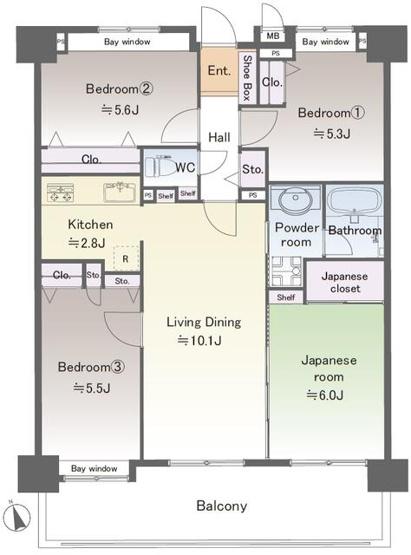 約10.1帖の南西向きリビングは、壁付タイプのキッチンで空間をいっそう広く! ダイニングテーブルも、ソファやテレビも自由にレイアウト。 ご家族に合わせてインテリアを考えるのが楽しくなりますね!