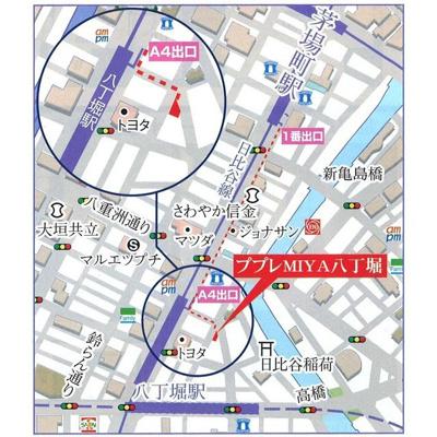【地図】ププレMIYA八丁堀