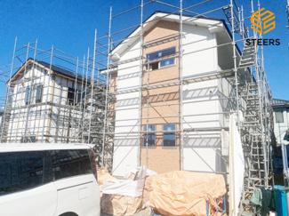 外観です。10月完成予定です! 土地面積259.02㎡(約78坪)、建物面積119.44㎡! お気軽にお問い合わせください♪ 9/2更新しました♪