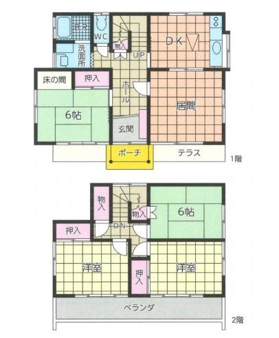土地面積264.08平米、建物面積96.88平米~南側道路に面し全居室2面採光の、採光たっぷりな室内、ゆったりとした4LDKの間取り
