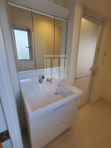 鏡裏にきちんと収納スペースがある、大きな洗面化粧台です