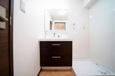 三面鏡で身支度がしやすい洗面化粧台です。