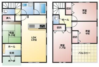 高浜市屋敷町第1新築分譲住宅1号棟間取りです。