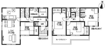 【区画図】池田市旭丘3丁目 新築戸建 1号棟