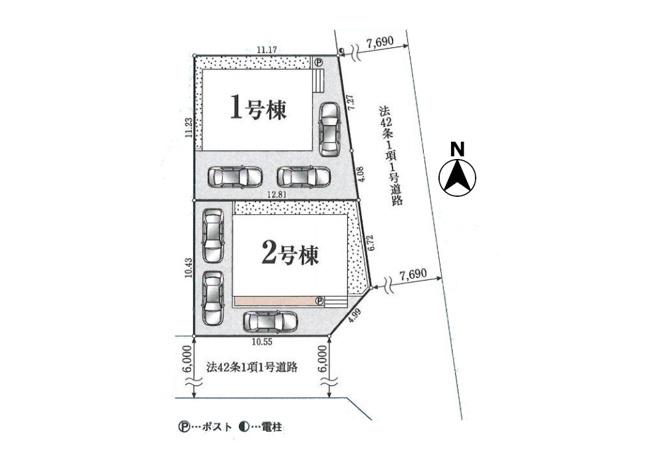 駐車3台可能なカースペースあり(※車種による)