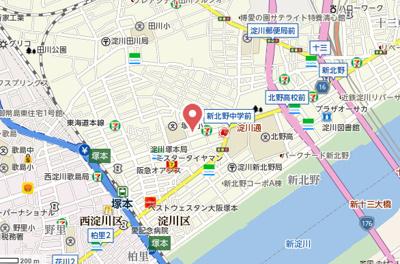【地図】パラシオ塚本Ⅲ