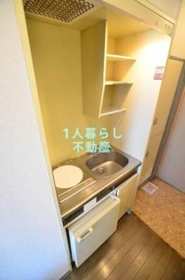 1口IH。ミニ冷蔵庫付きです