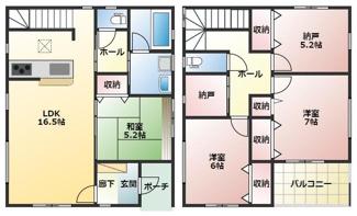 高浜市屋敷町第1新築分譲住宅2号棟間取りです。