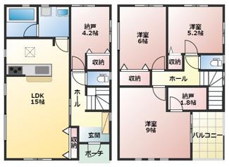高浜市屋敷町第1新築分譲住宅3号棟間取りです。