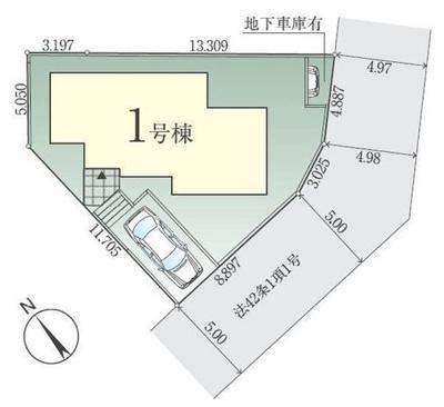 【区画図】敷地約46坪!4LDK+DEN+SIC+パントリー+カースペース・地下車庫!旭区笹野台4丁目新築戸建