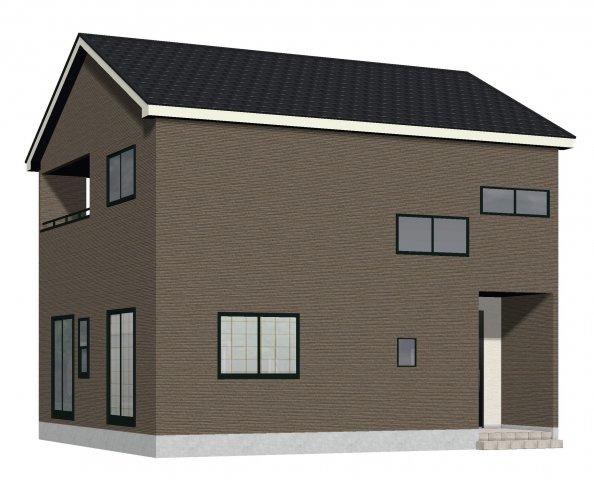 1号棟完成予想図。ブラウンの外壁サイディングでまとめたシックな印象の外観です。2380万円(税込み)