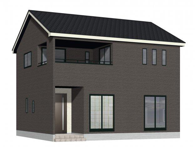 2号棟完成予想図。ホワイト系の外壁サイディングでまとめたシンプルな外観です。2280万円(税込み)