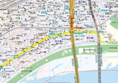 【地図】ローズコーポ西中島