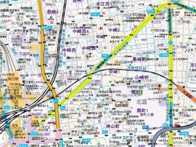 【地図】ソレイユ中崎