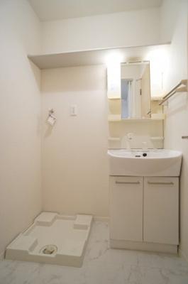 洗面所はシャンプードレッサー♪洗濯機置場は上部に棚があります!