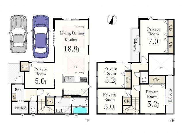 土地面積114.05㎡ 建物面積110.47㎡ 2階建 5LDK 駐車2台可能(車種による)