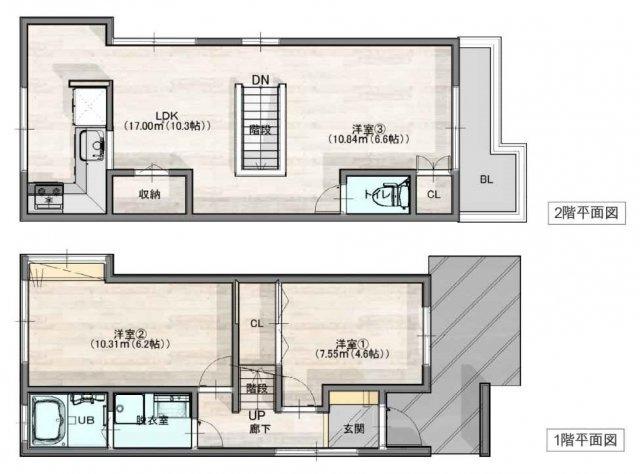 【3LDK】設備・建具・床等、全て新調・新設☆2階リビング☆