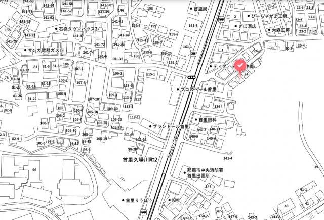 【地図】首里石嶺町借地権付建物
