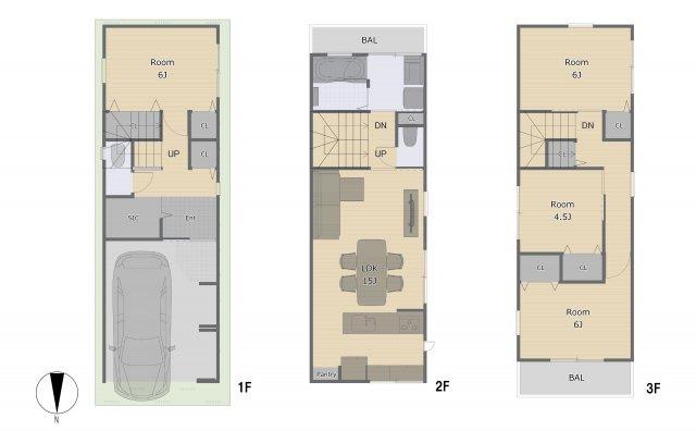 全居室収納付き!人気の2階に水廻りの4LDK♪(参考間取りにつき変更可能です!)