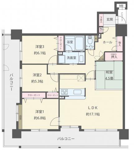 広いお部屋をお探しのファミリーにおススメ☆彡 居室3部屋+17帖のLDK+4.5帖の和室。 17.1帖の広々としたLDKはダイニングテーブルを置いても、ソファやテレビも十分置けます