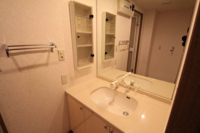 広々とした洗面室。朝の忙しい時間も家族いっしょに使えて便利です。 鏡横にミラーキャビネットもあるので、細々としたものをスッキリ収納できます