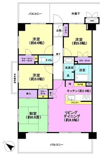 専有面積72.45平米、バルコニー面積19.8平米~4階南西向き、全居室に窓が有り、室内大変明るく開放感な角部屋、収納豊富な4LDKの間取り