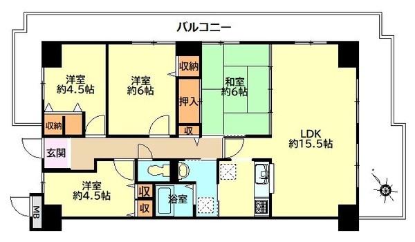 「間取り図」ゆとりある4LDKの間取りです。北側洋室クロス張替済です。