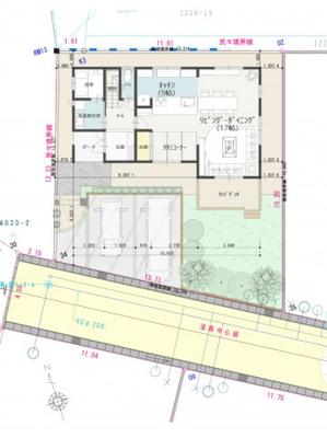 参考プラン_配置図 本図は、各区画に一般的な建物を配置した際に、建物の配置と駐車場の関係、又は区画周辺の空間等を確認して頂くために作成したものです。