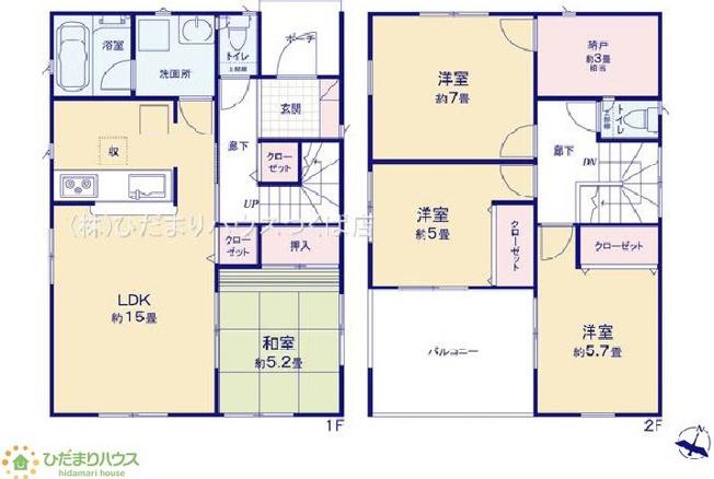 7帖の広々寝室には大容量W.I.C付き(^^♪
