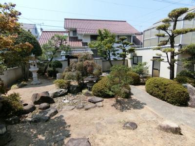 日本庭園風の庭が広がっています。