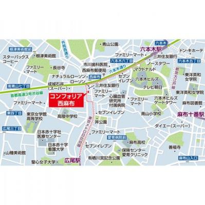 【地図】コンフォリア西麻布
