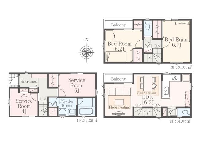 新築戸建 全3棟 B号棟 2SLDK+2S JR南武線「矢向駅」徒歩8分 2階LDKは16.2帖 全居室収納スペース有 建物面積:94.39㎡(28.44坪) 駐車スペース有