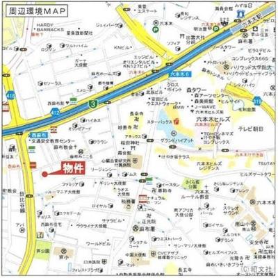 【地図】ベルファン西麻布