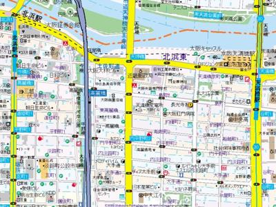 【地図】ミュプレ北浜