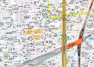 【地図】レジディア新大阪