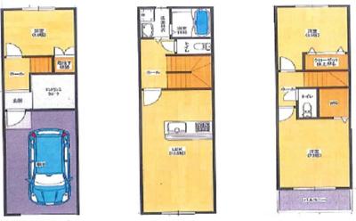 3LDK+車庫 1F:34.56㎡ 2F:34.56㎡ 3F:30.72㎡ バルコニー:3.84㎡ 延床面積103.68㎡ 建物価格 1980万