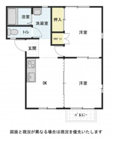 DK1室、洋室2室の間取りです ※実際にはバルコニーではなく、専用庭となります