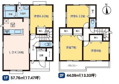 1号棟 4LDK+SIC 全居室フローリングのお部屋です。お掃除がラクラクです。