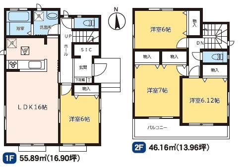 2号棟 4LDK+SIC 家事動線がいいので毎日の家事も緩和されます。
