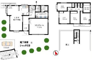 【土地図】新宿区中井2丁目 建築条件なし土地