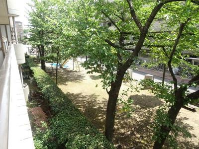 現地からの眺望です♪敷地内には公園があります。バルコニーからお子様を見てることもでますので安心ですね♪