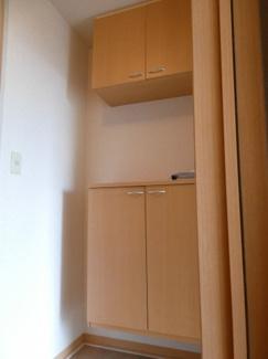 シューズボックス。上下にたくさん収納できるので、2人暮らしにも最適です。