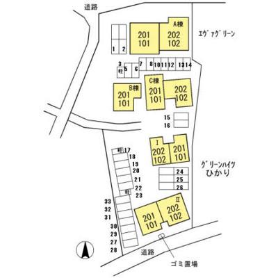 【区画図】エヴァーグリーン紫の池 A棟