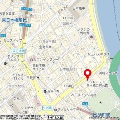 【地図】スカイコート日本橋浜町第3