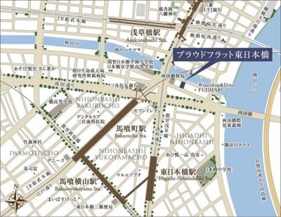 【地図】プラウドフラット東日本橋