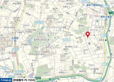 【地図】グランパレス南麻布仙台坂