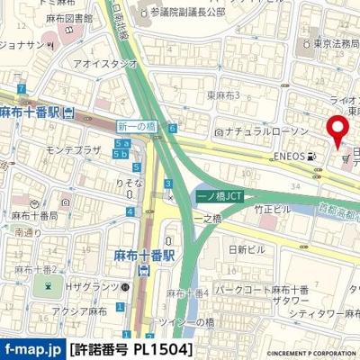 【地図】ビバリーホームズ東麻布