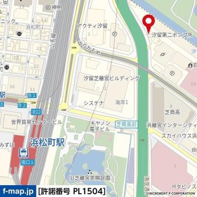 【地図】フューティバル汐留浜離宮パークサイドシティ
