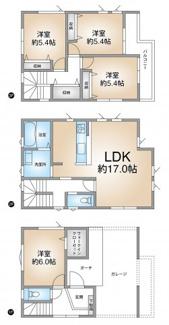 平成27年7月築 1階洋室にはウォークインクローゼット 17帖のLDKでゆったり 広い玄関ポーチ